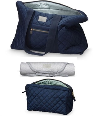 Set grand sac + Trousse + Tapis CamCam | Bleu Marine