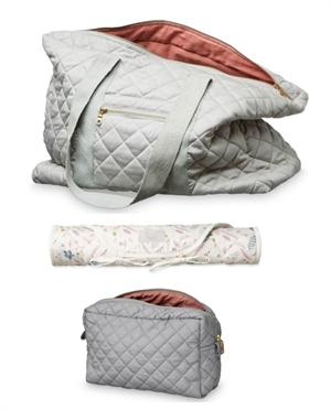 Set Grand Sac + Trousse + Tapis CamCam  | Gris clair