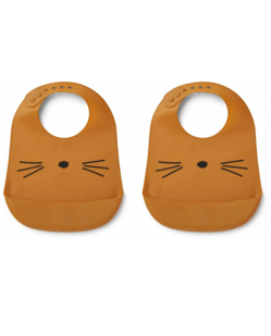 Pack de 2 bavoirs silicone imperméable Liewood | Chat moutarde