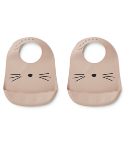 Pack de 2 bavoirs silicone imperméable Liewood | Chat rose