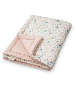 Couverture duvet coton bio CamCam | Leaves rose