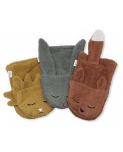 Pack de 3 gants de toilette Konges Slojd | Animaux - Boy