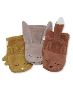 Pack de 3 gants de toilette Konges Slojd | Animaux - Girl