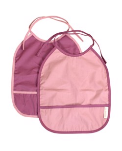 Lot de 2 bavoirs bébé coton Filibabba Plum / Light rose manipani