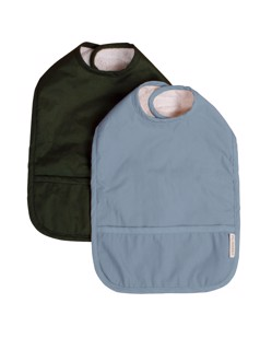 Lot de 2 bavoirs déperlants en coton bio éponge bébé imperméable Filibabba Powder blue / Dark green Manipani