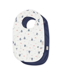 Lot de 2 bavoirs imperméables CamCam | Sailboats/Navy | Manipani boutique bébé scandinave