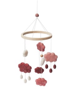Mobile suspendu en laine Sebra | Nuages rose bonbon