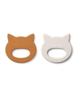 Pack de 2 anneaux de dentition Liewood | Chats moutarde & sable