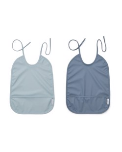 Pack de 2 bavoirs longs imperméables Liewood | Blue mix