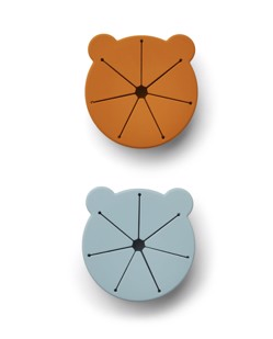 Pack de 2 bols enfants à couvercles snacks Kelly Liewood | Mr bear sea blue/moutarde | Manipani vaisselle bébé design