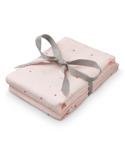 Pack de 2 langes coton CamCam | Étoile rose