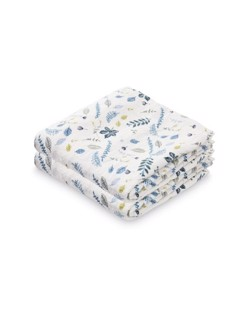 Pack de 2 langes coton CamCam | Leaves bleu
