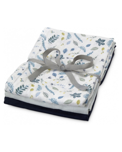 Pack 3 langes coton CamCam | Leaves bleu