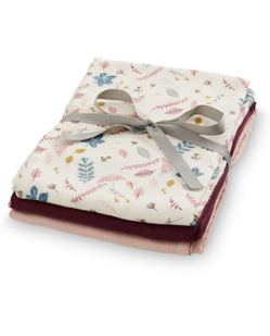 Pack 3 langes coton CamCam | Leaves rose
