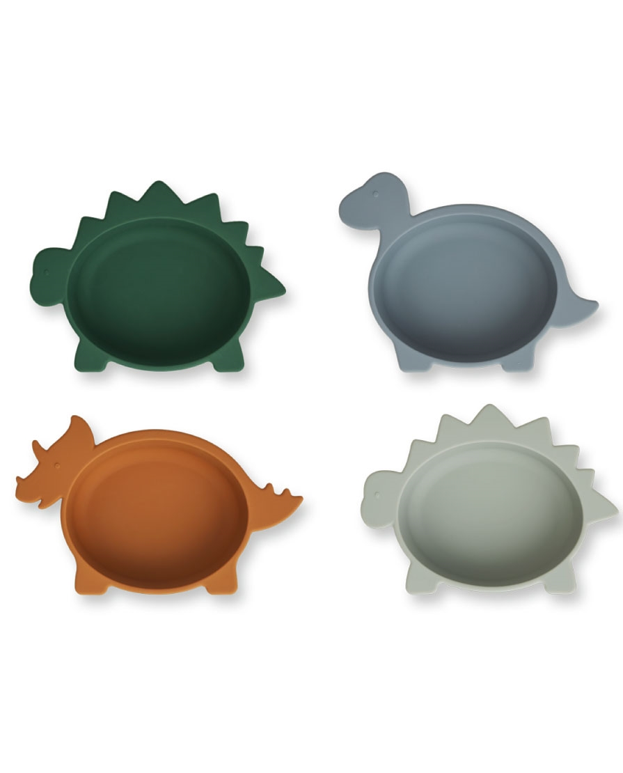Pack de 4 bols en silicone Iggy Liewood | Dino blue multi mix | Manipani boutique enfant design