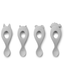 Pack de 4 cuillères silicone Liva Liewood | Gris clair