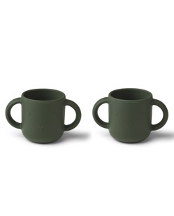 Pack de 2 tasses d'apprentissage en silicone Liewood | Lapin Hunter Green | Manipani boutique bébé design scandinave