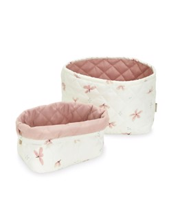 Assortiment de 2 paniers matelassés bébé Camcam Windflower Cream Manipani
