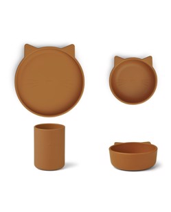 Set repas enfant en silicone Cyrus Liewood | Chat Moutarde | Manipani boutique scandinave