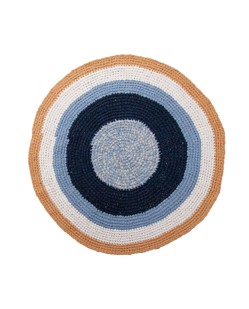 Tapis rond en crochet Sebra | Harbour blue | Manipani boutique bébé décoration scandinave