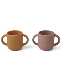 Pack de 2 tasses d'apprentissage en silicone Liewood | Chat Dark Rose